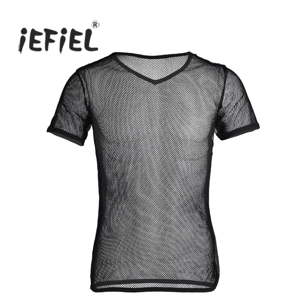 05e297554b31 IEFiEL Hot Mens Mesh See Through Clubwear Tank Vest Shirt Spandex Gay Men  Shirt Underwear Summer Vest Sexy See Through Shapers Ridiculous T Shirts  One Day T ...