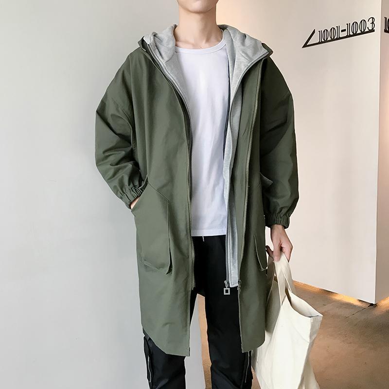 2019 2018 Autumn Korean Men Fashion Casual Loose Fake Two Pieces