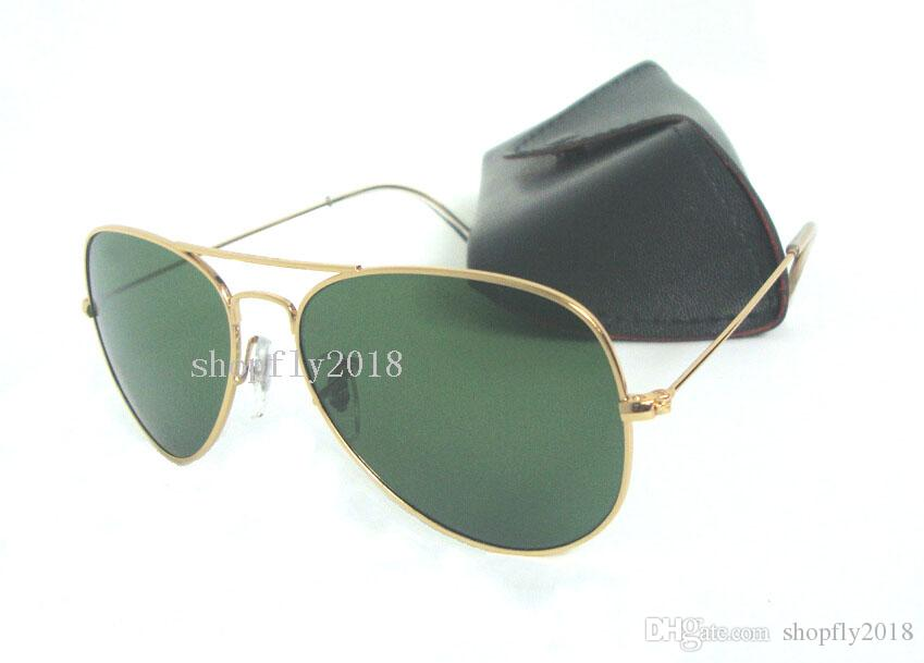 Classic Pilot Sunglasses For Mens Womens Metal Sun Glasses Eyewear Gold Black 58mm 62mm Glass Lenses With Black Case