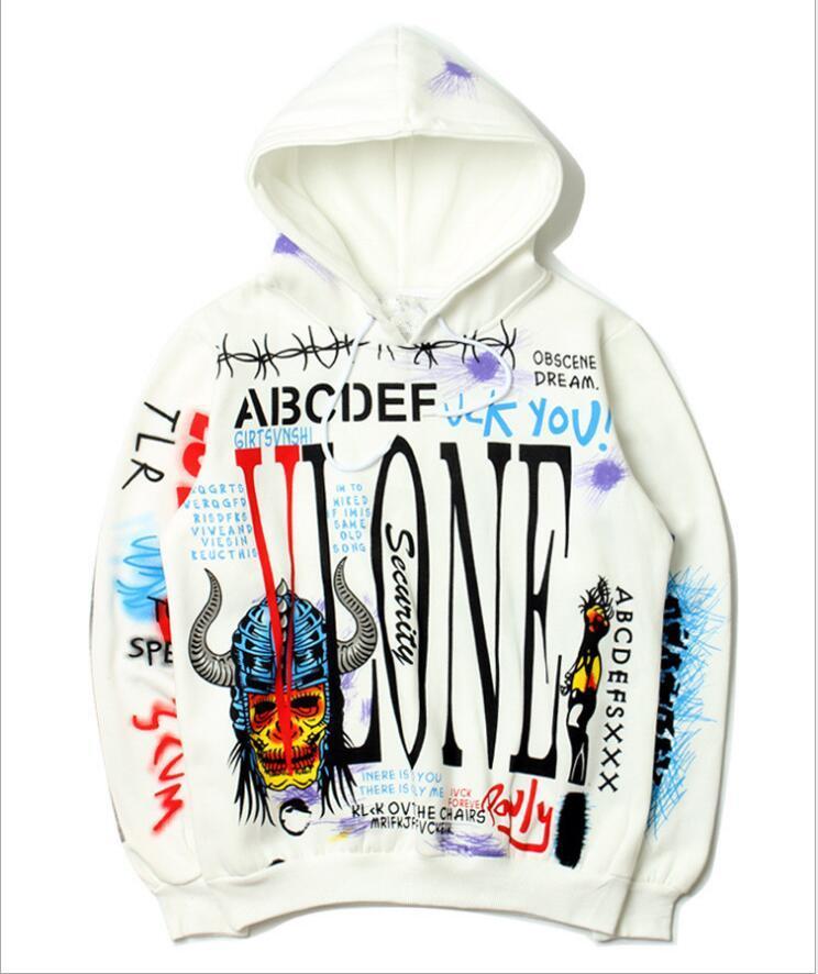 0397354e Vlone Brand Designer Men's Luxury Hoodie Hip Hop Doodle Demon Men's ...
