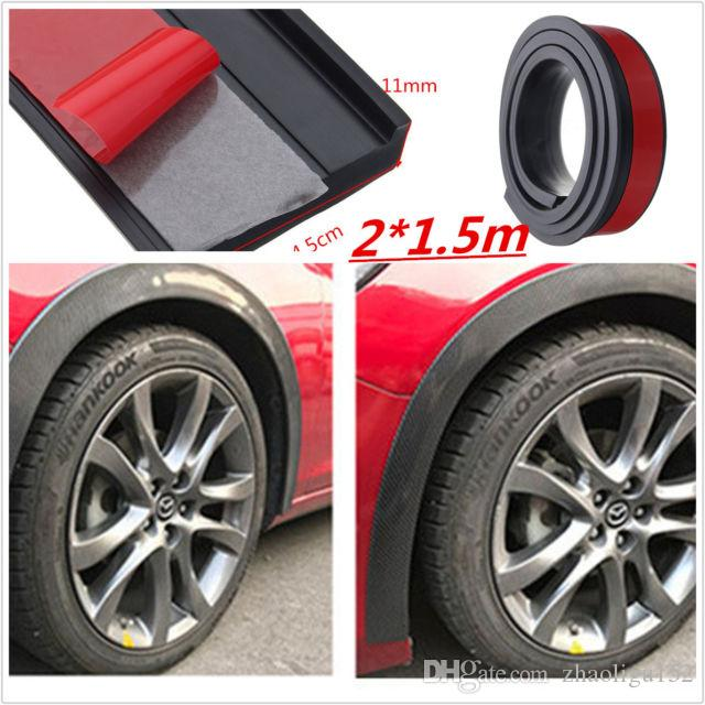 Universal 2x45cm15m Rubber Car Fender Flare Wheel Eyebrow Trim