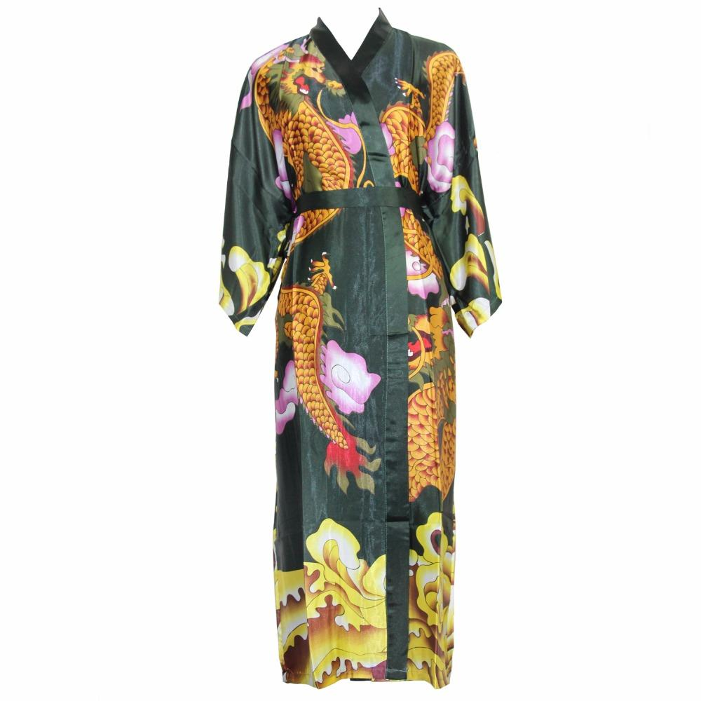 2019 Chinese Vintage Men Print Dragon Robe Bathrobe Casual Male Kimono  Nightwear Rayon Loose Nightgown Satin Sleepgown Home Wear From Morph1ne 9297e9fd0