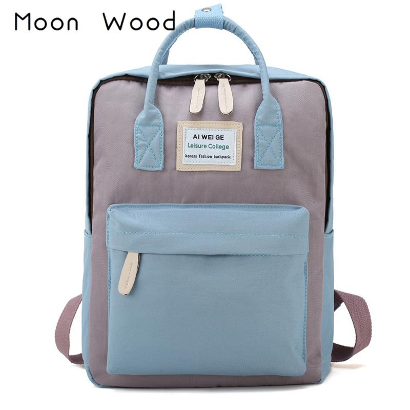 f7fc109068c3 Moon Wood Korean Style Women Backpack Waterproof Students Book Bag School  Bags For Teenager Girls Boys Travel Backpack Rucksack