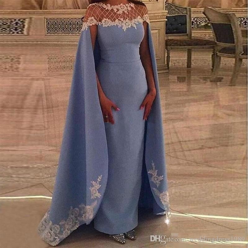 Elegant Sheath Sheer Applique Evening Dresses With Wrap Dubai Sky Blue Satin Plus Size Arabic Formal Party Prom Dresses Custom Gown