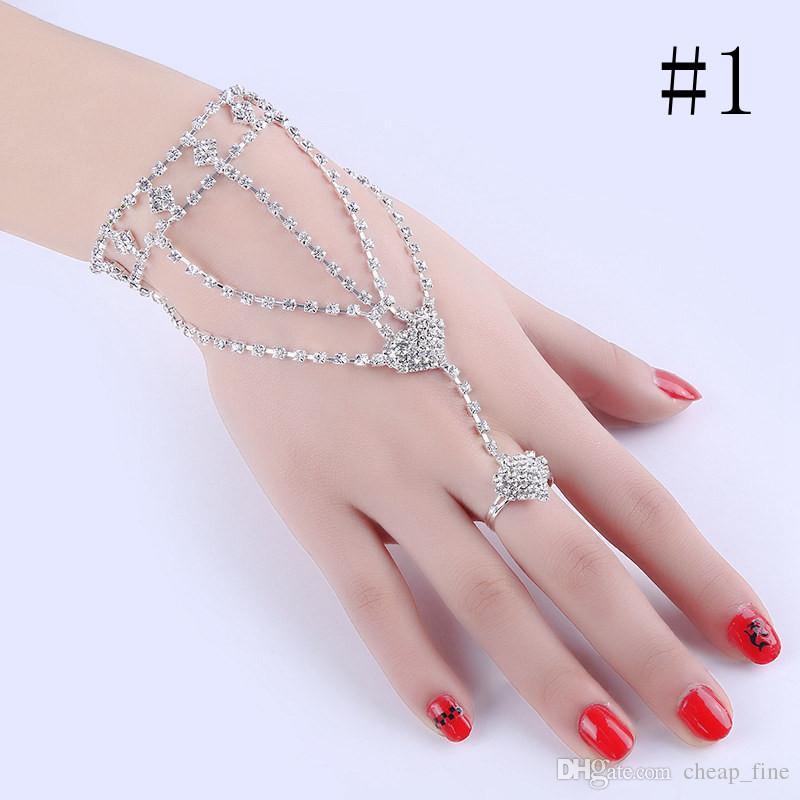 Nouveau indien à la mode multicouche Wrap Finger bracelets argent couleur chaîne lien gland harnais main charmes Bracelet pour les femmes