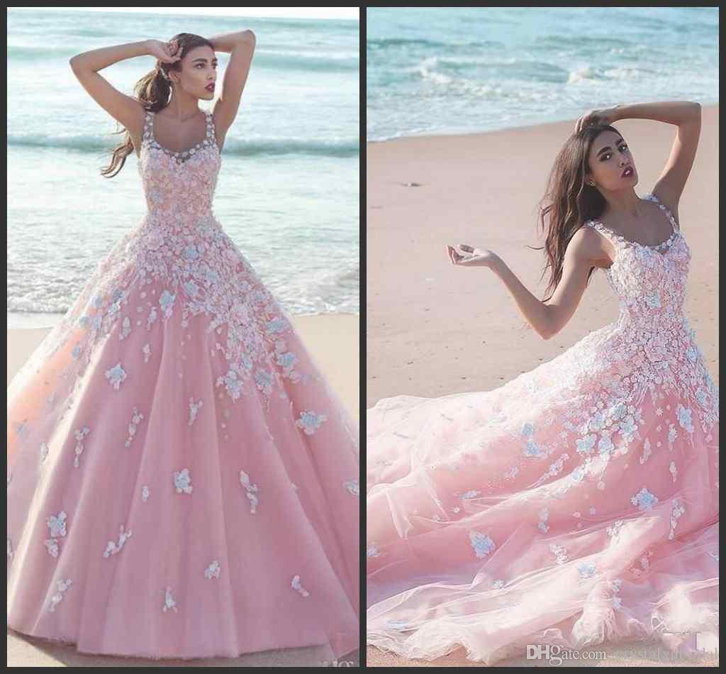 4ef6c3d59e9 2018 New Hot Flower Pink Ball Gown Quinceanera Dresses Applique Tulle Scoop  Sleeveless Lace Bodice Long Prom Dresses Formal Party Dresses Online  Dresses ...
