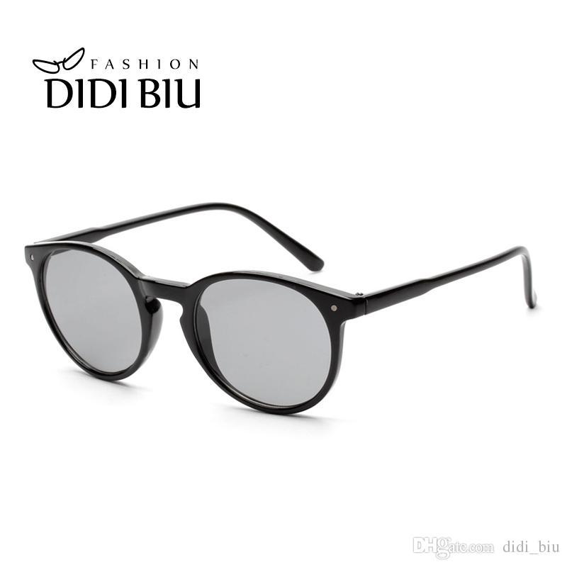 3ccd0177b DIDI Vintage Round Sunglasses Women Men Brand Pink Transparent ...