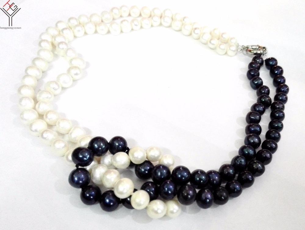 Acheter Bijoux Femme 8x9mm Perle Noire Blanche 2 Rangs Collier Perle