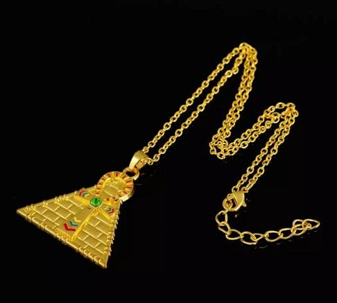 Drop Shipping Series Stylish Golden Plating Enameled Ankh Cross Pyramid Pendant Necklace Egyptian Necklace Jewelry