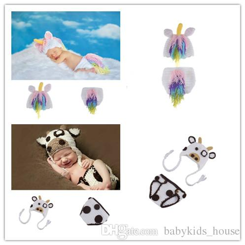 White Milk Cow Infant Baby Girls Hat Diaper Set Photography Props Knitted  Newborn Coming Home Outfits Cute Baby Animal Costume UK 2019 From  Babykids house 85e8539d881e