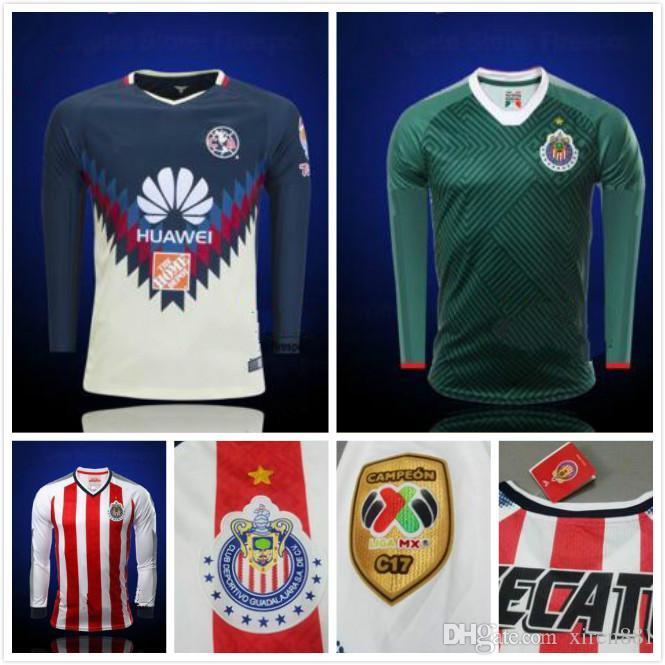 06ac694b3 Compre Top 2017 2018 Club Chivas De Guadalajara Camisas De Futebol De Manga  Comprida Terceira Verde 17 18 Início Camisola De Manga Integral A.Pulido De  ...