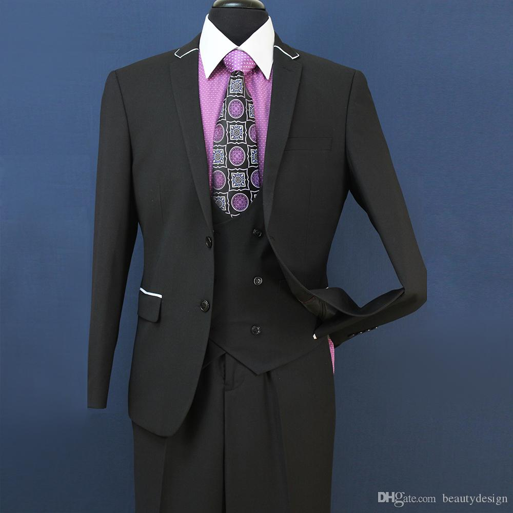 2018 New Smoking Slim Fit Groomsmen Grigio chiaro Sfiato laterale Matrimonio Best Man Suit Tute da uomo 3 pezzi Jacket + Vest + Pants ST008