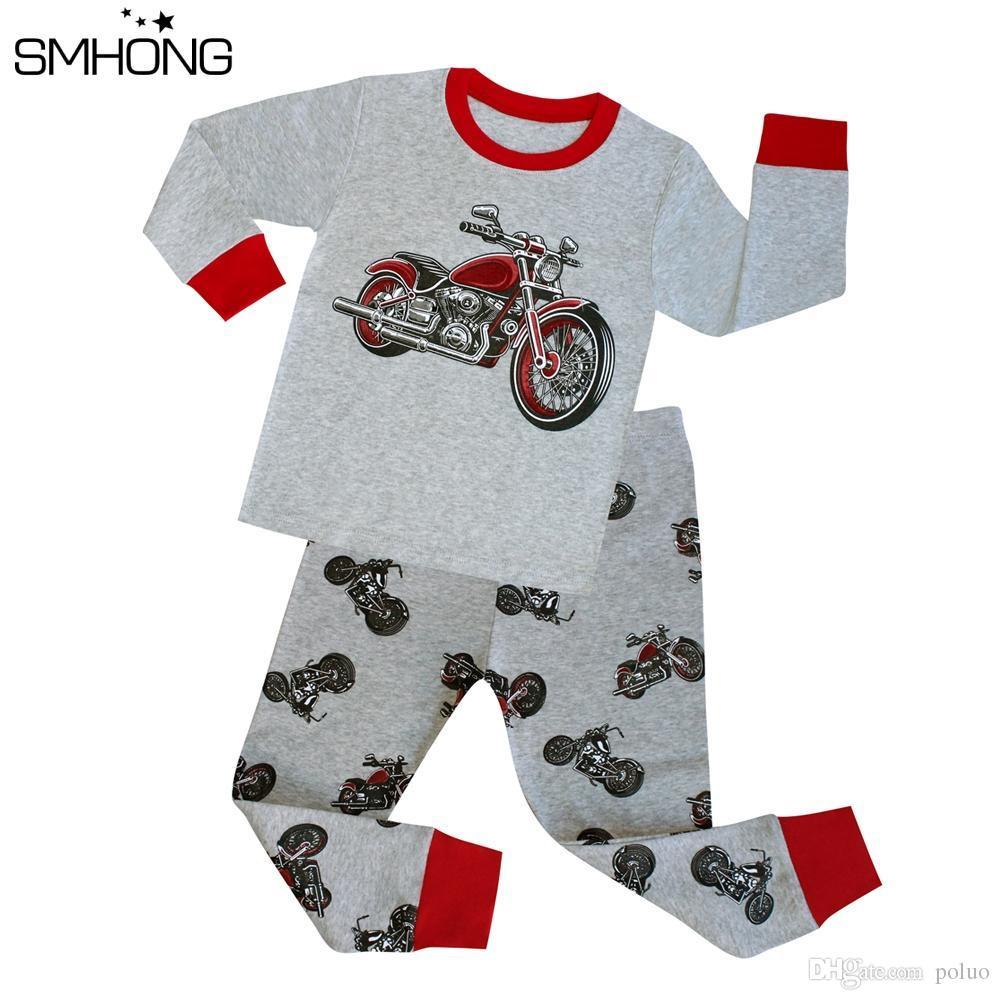 f3b014ea0 SMHONG Boys Pajama Sets Spring Cotton Christmas Motorcycle Clothing ...