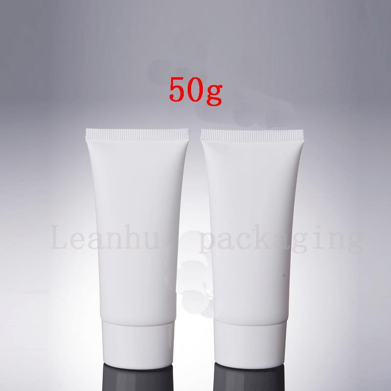 50G White Plastic Squeeze Tubes For Foam Cleanser, Grind Arenaceous Cream Container Refillable Tube Cosmetic Packaging Tubes
