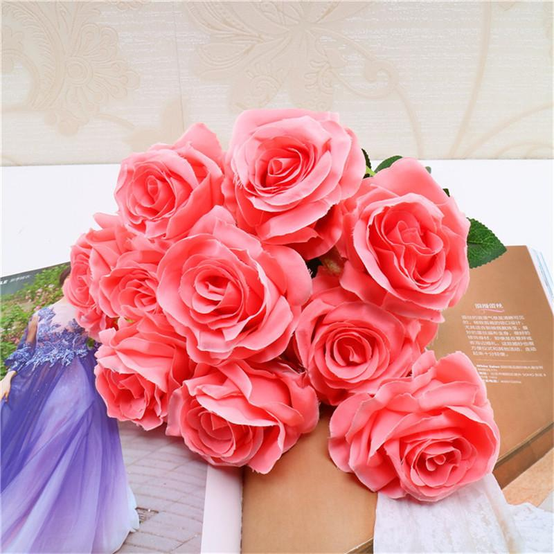 Artificial Flowers Heads Pink Artificial Rose Bud Artificial Flowers For Wedding Decorations Christmas Party Silk Flowers Wholesale