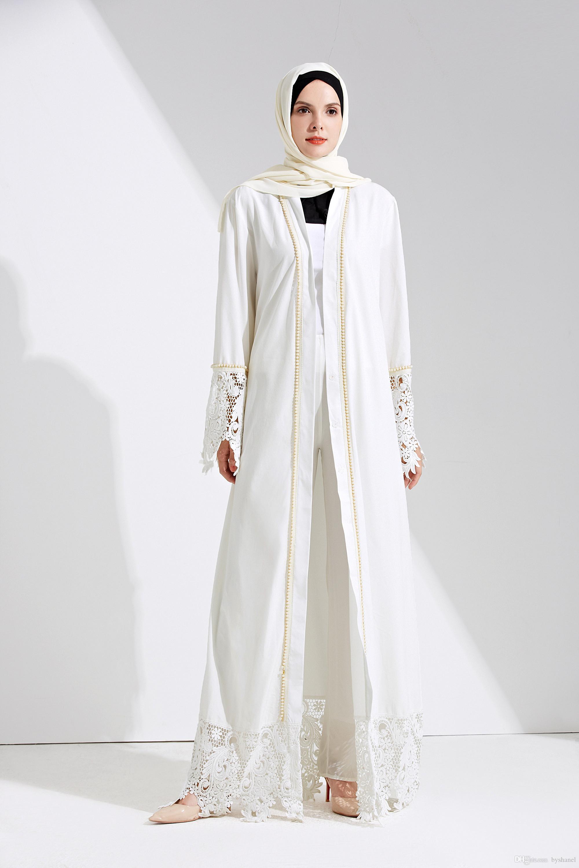 780809ed4d8 Women s Geometric Patterns Modest Muslim Islamic Open Front Abaya Jilbab  Coat with Belt Long White Lace Kimono Outfit Ramadan Gift Islamic Kaftan  Abaya ...