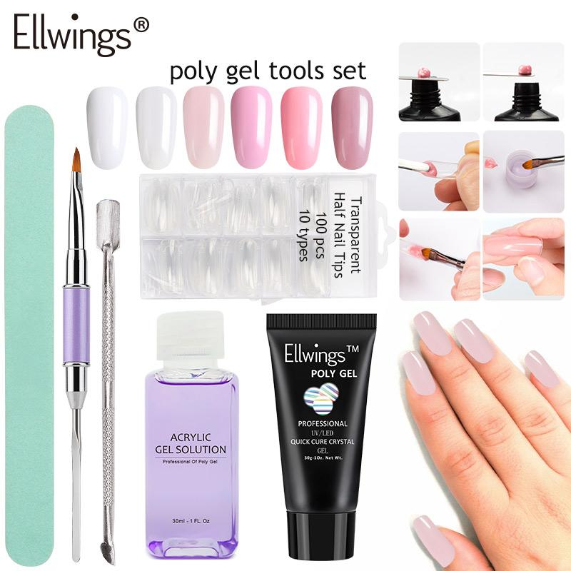 30g Poly Gel Nail Builder Gel Set Crystal Gum Jelly Polygel Quick ...