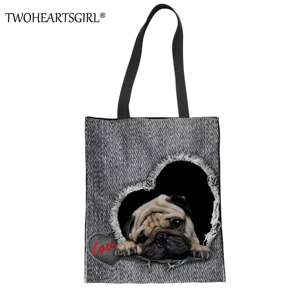TWOHEARTSGIRL Cute Pug Dog Women Canvas Handbags Large Capacity Ladies Beach Tote Bag Female Daily Lightweight Shopping Hand Bag