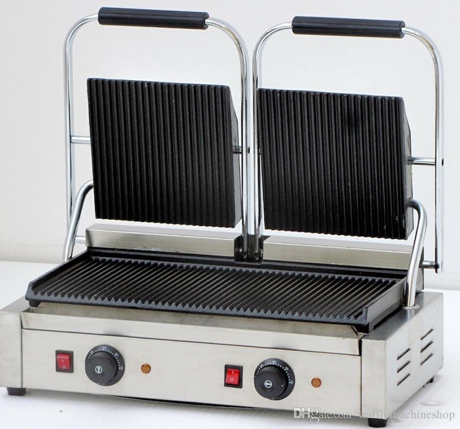 2019 Commercial Panini Press Sandwich Grill Double Pan