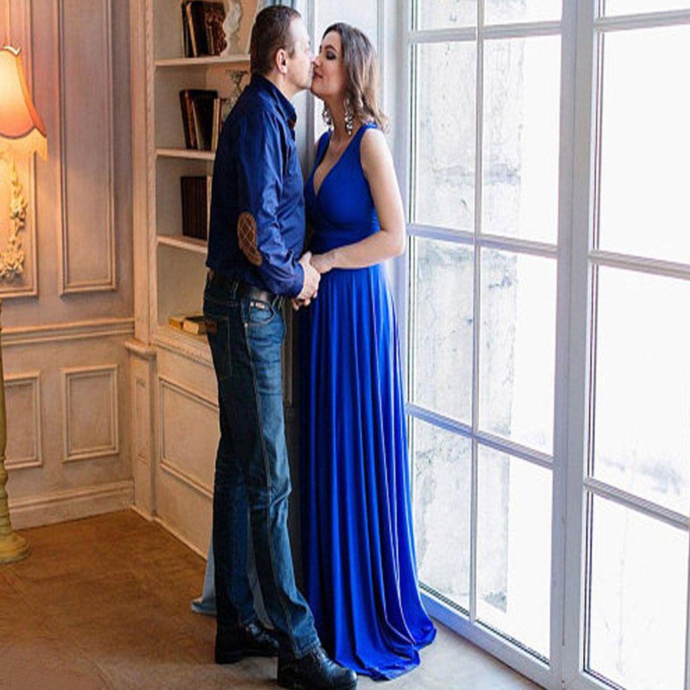 2018 Casual Maternity Dress Photography Props Maxi Dress V Neck ...