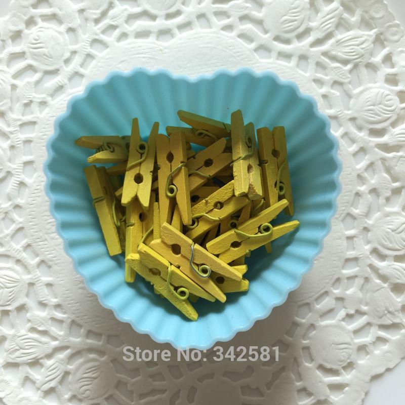 Navy Blue Yellow Mini Clothespins, Navy Clothes Pin 50, 1 Inch Tiny Clothespin, DIY Wedding , Scrapbook Embellishment, Gift Wrap