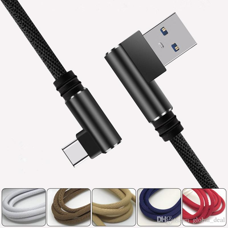 Angle 90 Degree 2A FAST Charger USB Cable Nylon braided wire Right Charging Micro USB Cable type-c usb for Samsung LG Huawei HTC