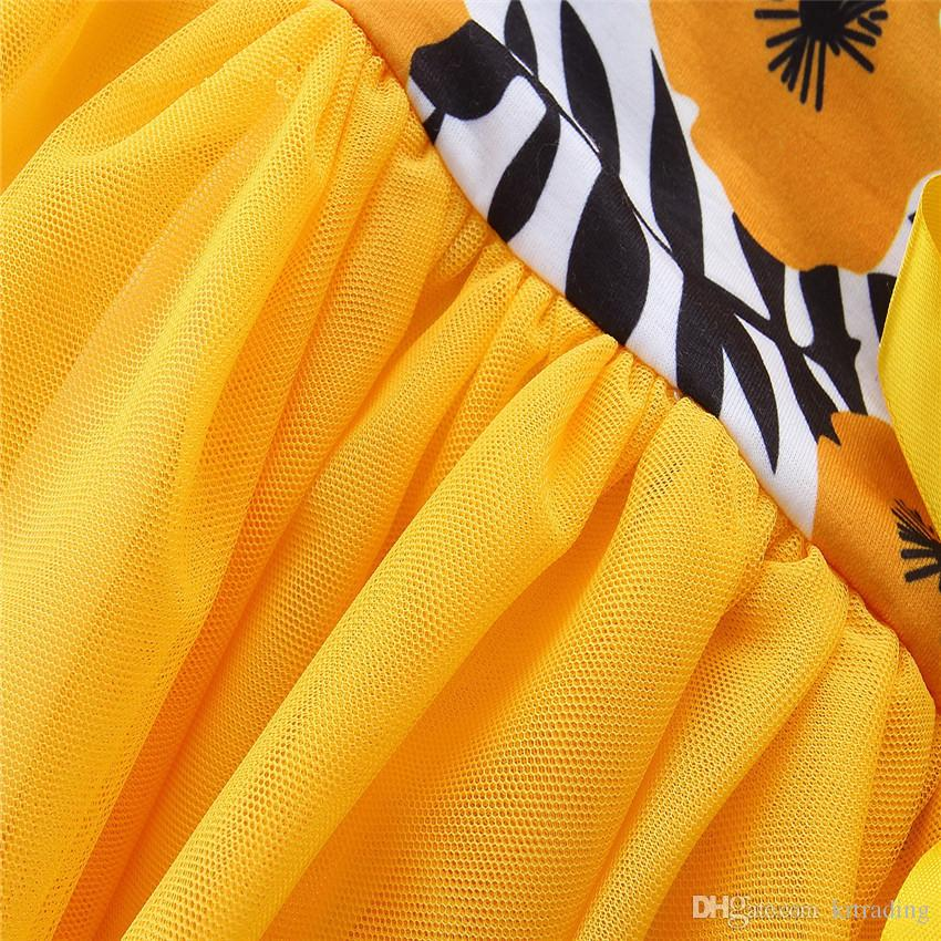 Vestito giallo floreale dalle ragazze 1-6T fiore stampa bambini nastro bowknot garza splicing abito da principessa manica corta