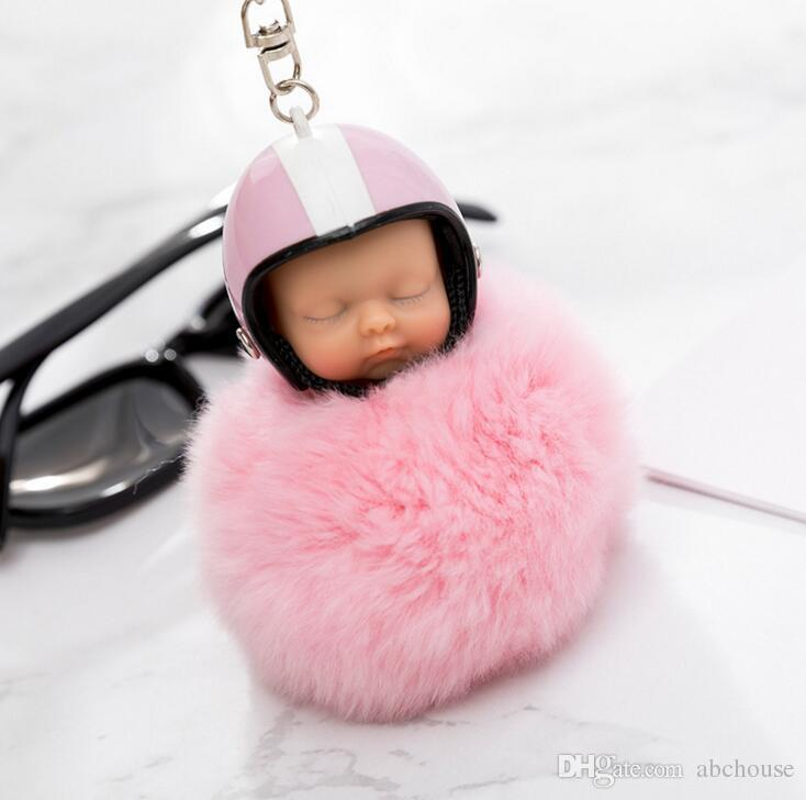 Fantasy New Fluffy Rabbit Fur Pompom Motorcycle helmet Sleeping Baby Key Chain Women Fur Doll Keychain Car Keyring Toy