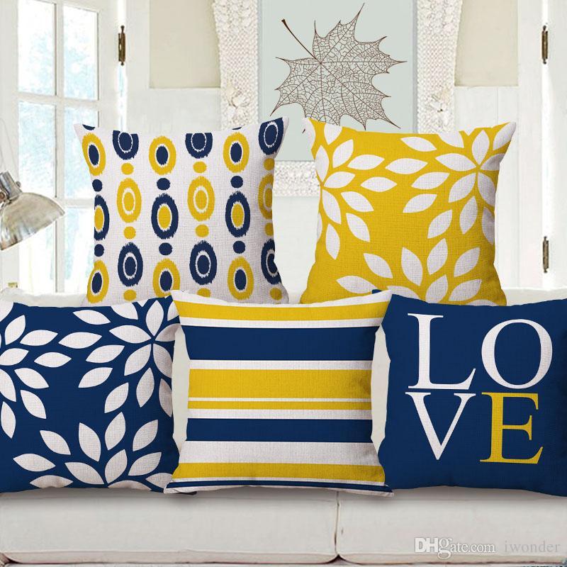 dbfcf81f6687ee Amarelo e Azul Geométrica Ondulado Tarja Almofada Capas 10 Estilos Carta de  Amor Xadrez Linho Fronha 45X45 cm Quarto Sofá Decoração