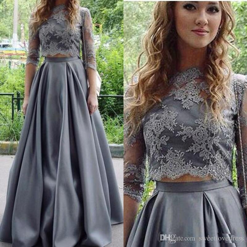 46fca3ef576 2018 Fashion Grey Two Piece Prom Dresses Sheer High Neck Illusion Half  Sleeves Lace Appliques Crop Top Formal Party Wears Custom Light Pink Prom  Dresses ...