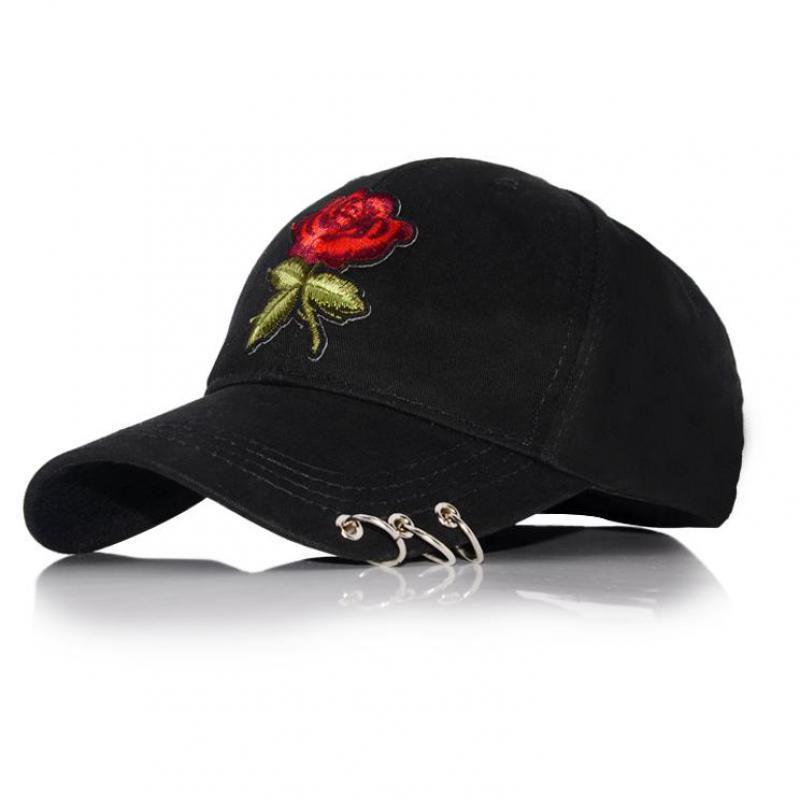 2d7766656430b Red Rose Flower Baseball Cap Women Solid Color Snapback Cap With Metal  Rings Dad Hat Female Hip Hop Sun Visor Summer Flat Caps For Men Womens Baseball  Hats ...
