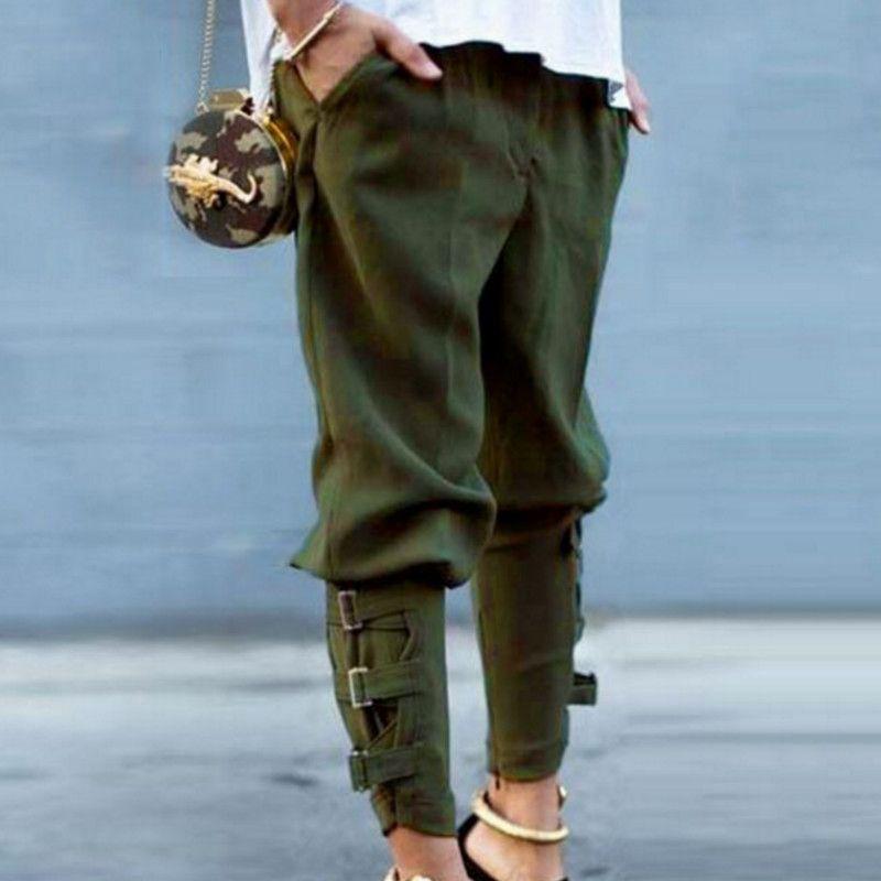 Compre 2019 Moda Casual Mujer Pantalones Harén Cintura Alta Vendaje Lazo  Flojo Pantalones Pantalon Femme Más Tamaño A  31.09 Del Stephanie02  49a3e9d7600e
