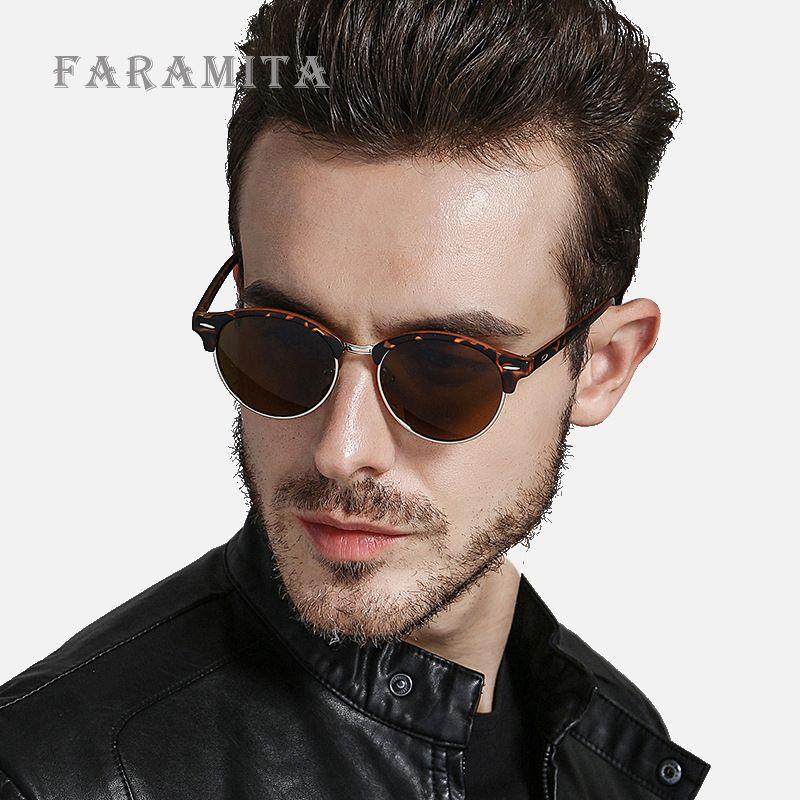 c46b34ae37 Faramita Brand Steampunk Round Men Sunglasses Anti-UV Polarized PC ...