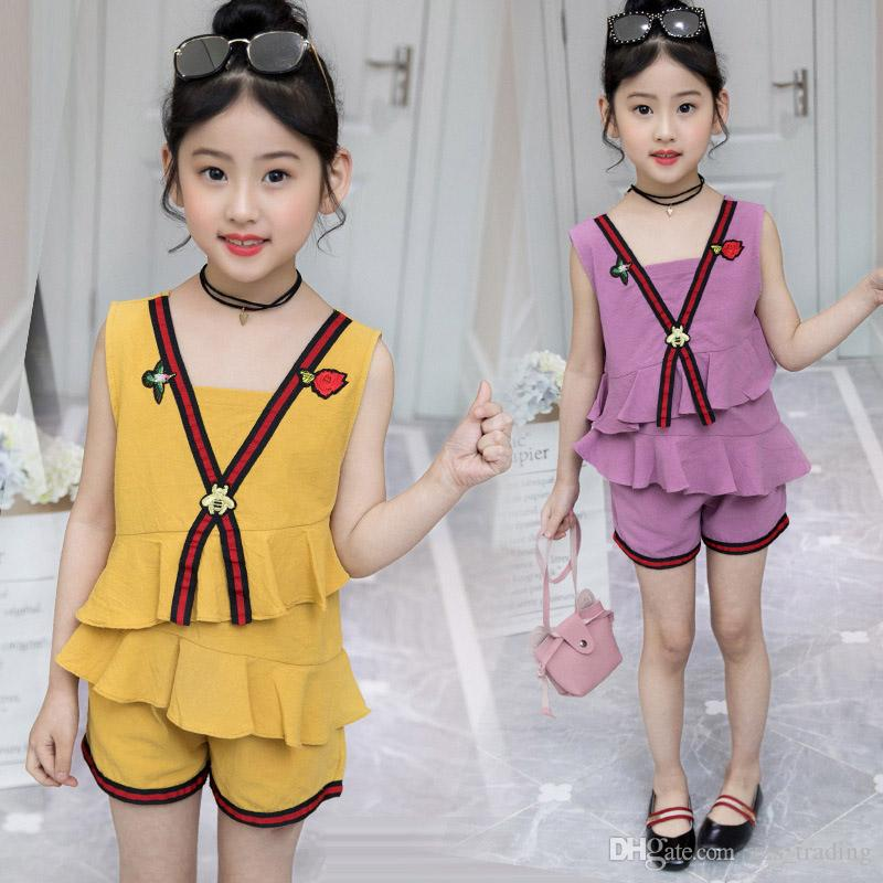 a027fd378ca 2019 Girls Clothing Sets New Summer Children Suits Kids Sets Printing  Chiffon Flounce Dress+Short Kids Clothing Sets From Zzs trading