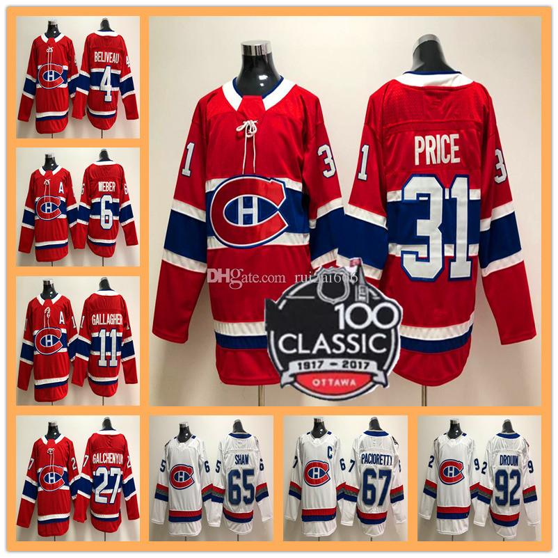 184c26a4c1a 2019 Mens 2018 Montreal Canadiens 100 Classic 31 Carey Price 6 Shea Weber  92 Jonathan Drouin 67 Max Pacioretty 11 Brendan Gallagher Hockey Jersey  From ...