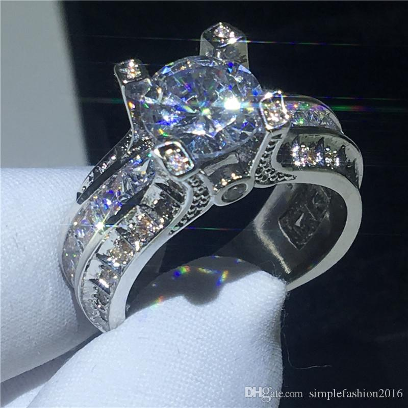 Luxus Eiffelturm Frauen Männer Schmuck Ring 9mm 3ct 5a Zirkon Cz 925 Sterling Silber Verlobung Hochzeit Band Ring Geschenk