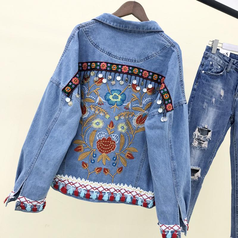 Acquista Giacca Vintage Jeans Ricamo Donna 2018 Autunno Moda Nappe  Paillettes Irregolare Bordo Grezzo Denim Cappotti Donna Casual Cappotto  Jean A  67.53 Dal ... 0664a8be157