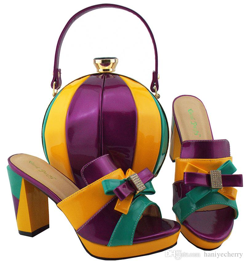Cute globular shape Brand New Italian designs shoes and bag set in 9cm high heel matching bags for Ladies