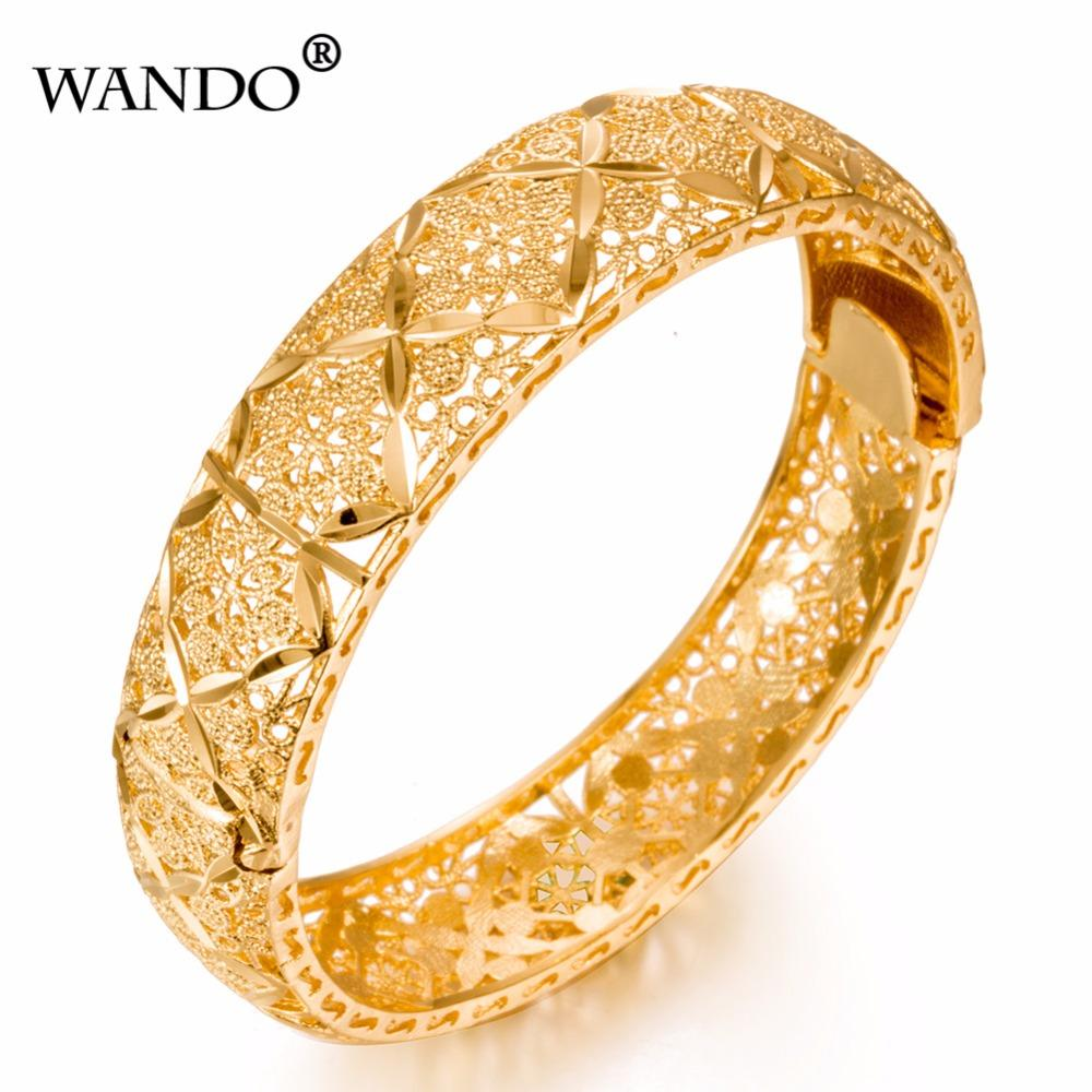 Wando Luxury Ethiopian Bangles Women 24k Gold Color Dubai