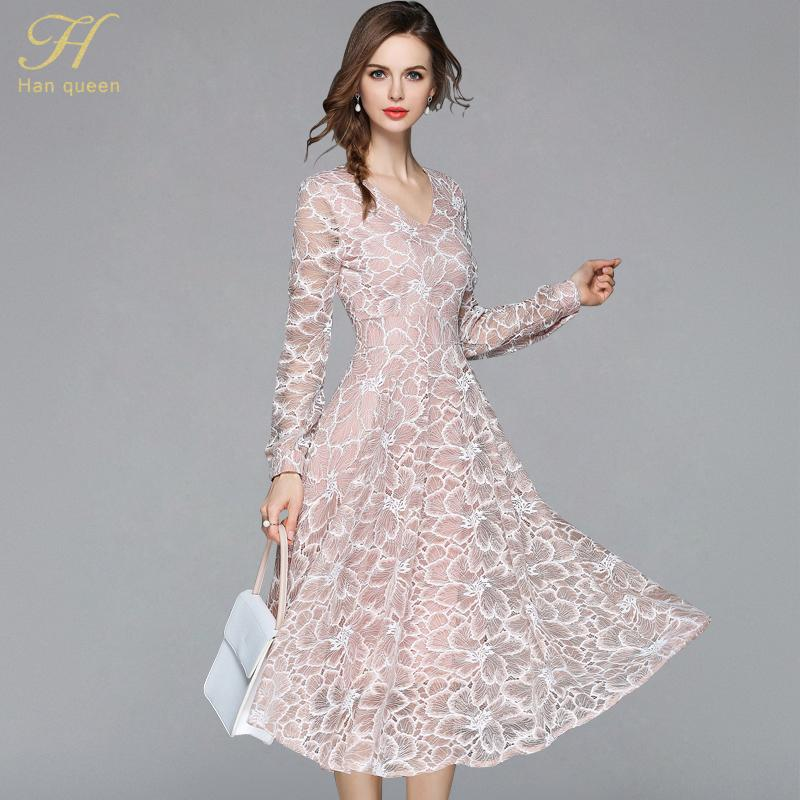 9fe4c6c7d6a98 H Han Queen 2018 Summer Lace Dress Work Casual Slim Work Women Party  Dresses V-neck Sexy Hollow Out A-line Vintage Vestidos