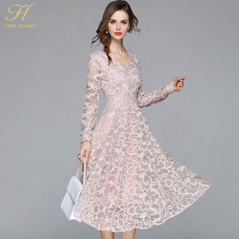 f16a2a5588d6 2019 H Han Queen 2018 Summer Lace Dress Work Casual Slim Work Women ...