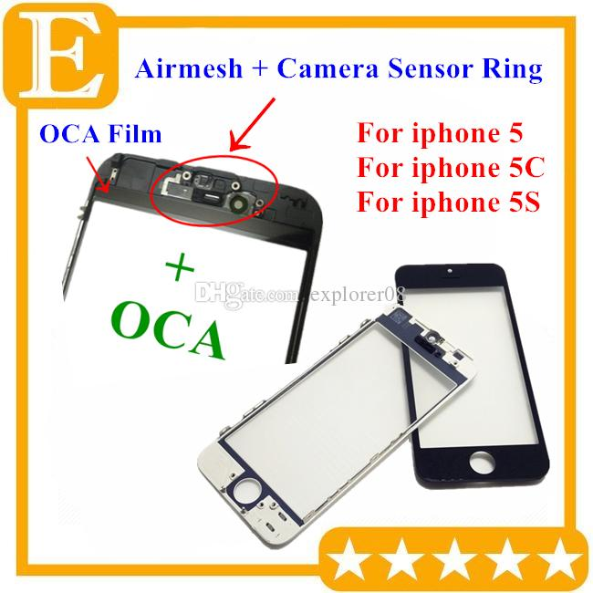 Front Touch Screen Panel Outer Glass Lens with Cold Press Middle Frame with OCA installed Assembly for iPhone 5 5g 5c 5s