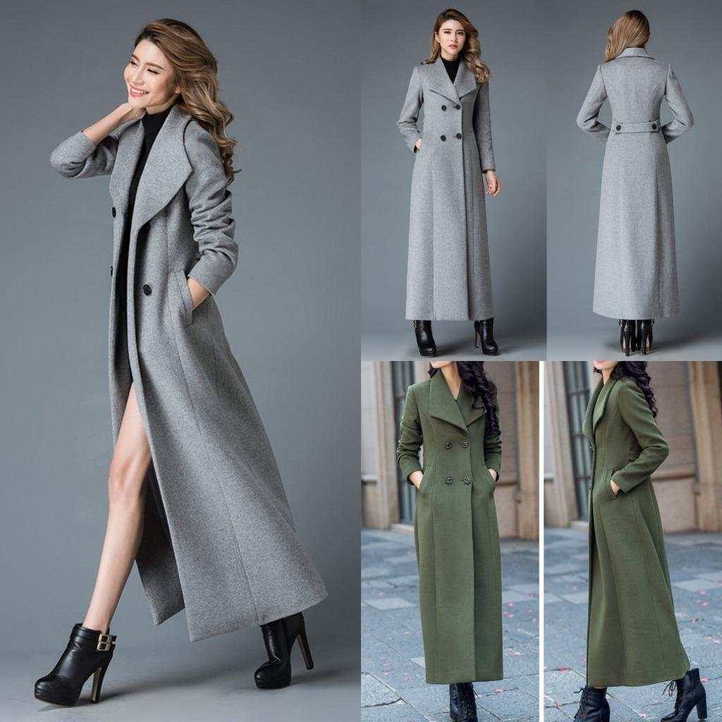 79f084e0d Compre Mujeres Cálidas Trench Coat 2017 Invierno Mujer Gris Lana Slim Coat  Maxi Warm Chaqueta Larga Verde Casual Trench Coat Mujer Fría Outwearts A  $112.09 ...