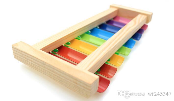 Jouets musicaux en bois de bébé Remorque 8 x Note xylophone enfants frapper à la main Piano Instrument de musique