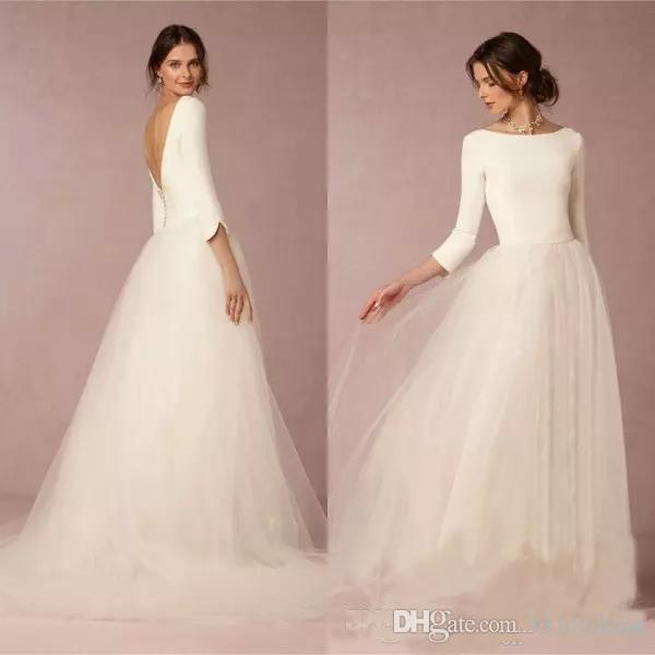 177d77efdf1f Discount Cheap Modest Winter Wedding Dresses With Sleeves 2019 Bohemian A  Line Satin Top Backless Bridal Gowns Design Soft Tulle Skirt Sweep Train  Wedding ...