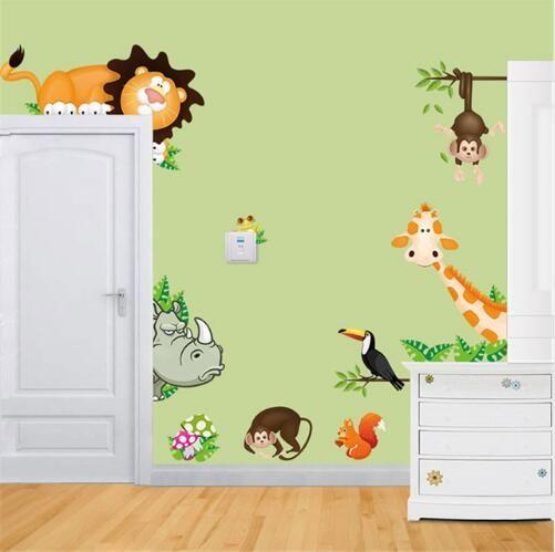 Frete grátis Selva Animal Posters Crianças Do Berçário Do Bebê Adesivos de Parede Criança Home Decor Decoratio PVC Mural Estilo Dos Desenhos Animados Do Decal Adesivo De Pare