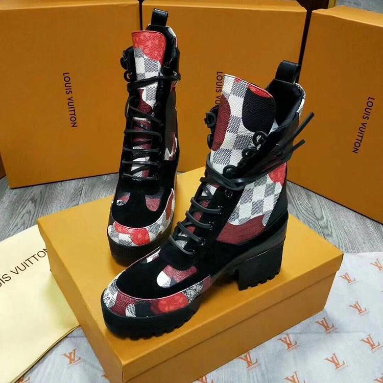 Women Boots 1A41Q7 Casual Shoes Bottes Femmes Fashion Ankle Boots With  L0UIS Origin Box Chaussures De Femme Classic Thick Heel Style Black Combat  Boots ... fa88b90de59