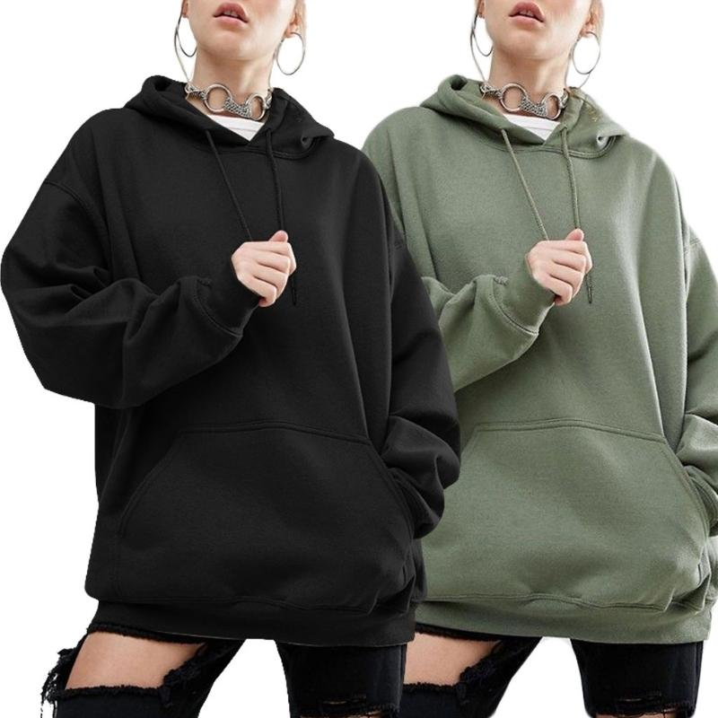 9ca56a70b40 2019 KLV S 5XL Chic Womens Oversized Hoodie Sweatshirt Casual Solid Color  Outwear Loose Bat Drop Sleeves Black Army Green D18103001 From Xiao0002