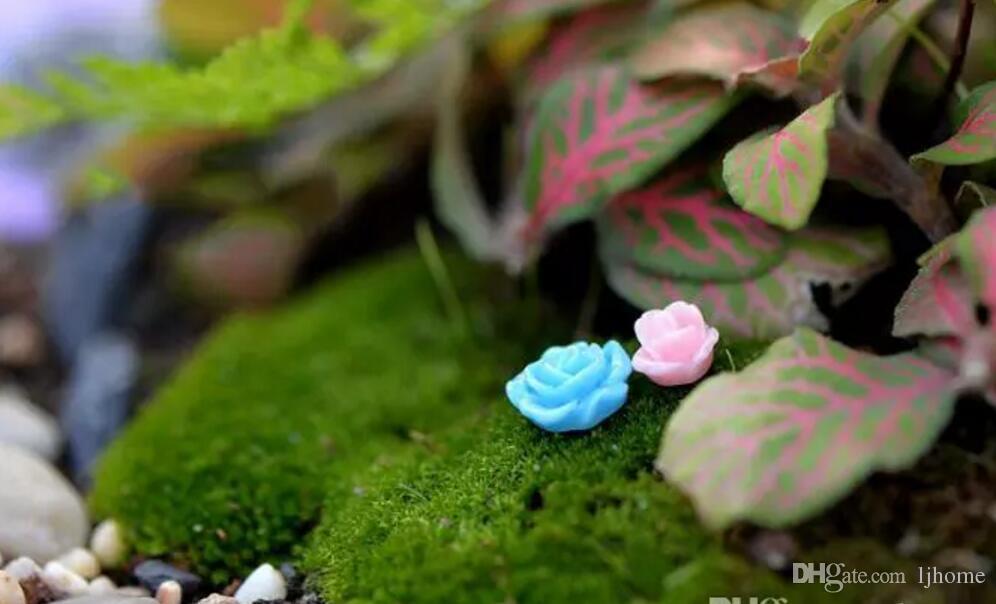 20 Stücke Harz Rose Blumen DIY Sukkulenten Terrarium Micro Landschaft Ökologische Flasche Fleischigen Moos Tiny Bonsai Blumentöpfe Dekoration