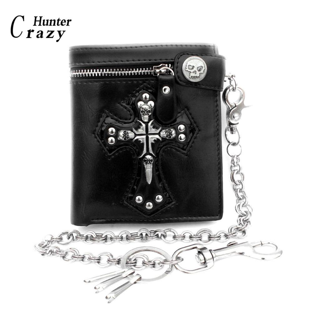 23f3726ed Compre Chicos Para Hombre Goth Skull Cross Biker De Cuero Negro Billetera  Con Cierre De Cremallera Con Cadena Larga A $120.72 Del Allinbag |  DHgate.Com